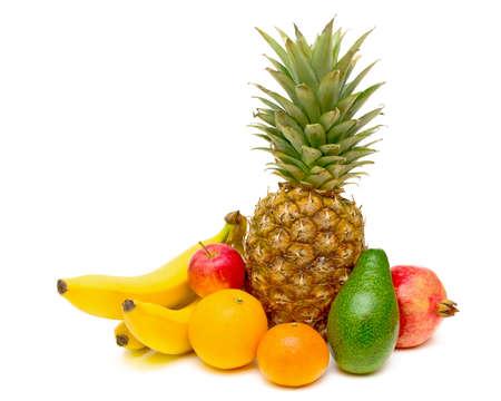 ripe fruit closeup on white background Stock Photo
