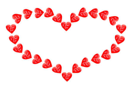 copy center: Valentine of red hearts on a white background Stock Photo