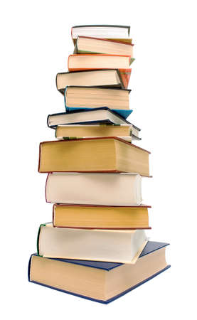 large stack of different books isolated on white close-up