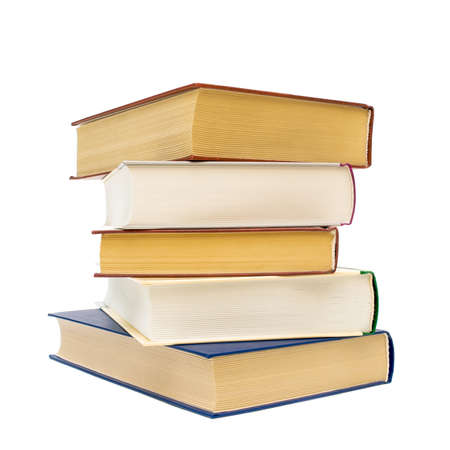 a stack of thick books closeup isolated on white background Stock Photo