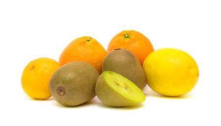 fresh fruits on white background close-up photo