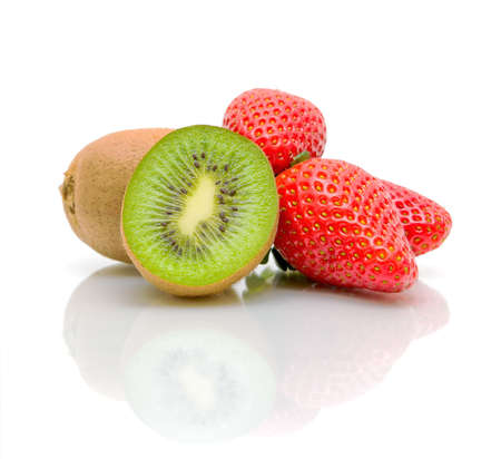 ripe and juicy kiwi and strawberry close-up photo