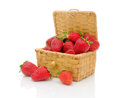 ripe juicy strawberries on a white background photo