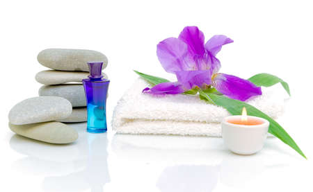 Still life of items for the spa treatments on a white background photo