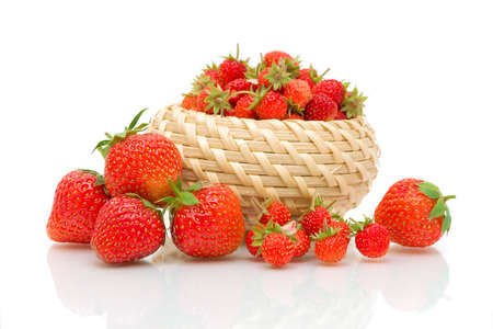 ripe juicy strawberries and strawberry on a white background