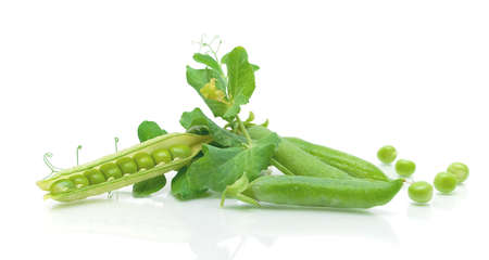Ripe pea vegetable with green leaf isolated on white background with reflection