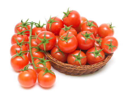 ripe cherry tomatoes on a white background close-up photo