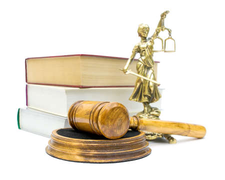 gavel, books and a statue of justice isolated on white background