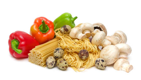 ripe peppers, pasta, mushrooms and quail eggs isolated on white background photo