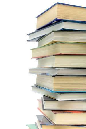 large stack of different books on a white background Stock Photo