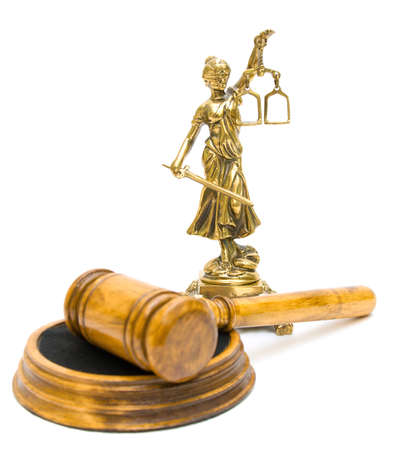 statue of justice and gavel isolated on white background photo
