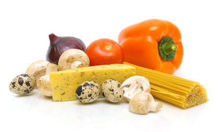 cheese, mushrooms, spaghetti and fresh vegetables isolated on white background