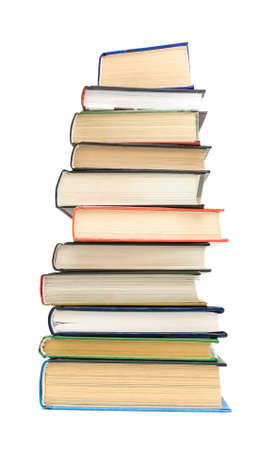 large stack of different books isolated on white background closeup Stock Photo