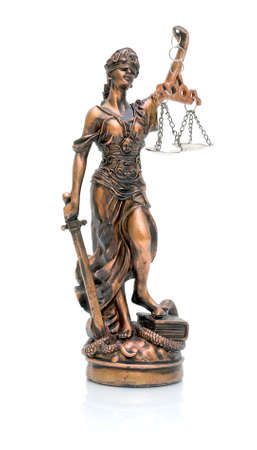 statue of justice on a white background closeup with reflection Stock Photo - 16626441