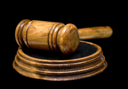 gavel isolated on a black background closeup Stock Photo - 16925829