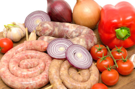 carnes y verduras: carnes y verduras frescas de cerca Foto de archivo
