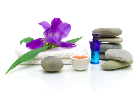 spa still life: Still life of items for the spa treatments with iris on a white background with reflection Stock Photo