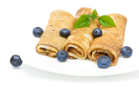 pancakes with ripe blueberries on a plate on a white background Stock Photo - 18513166