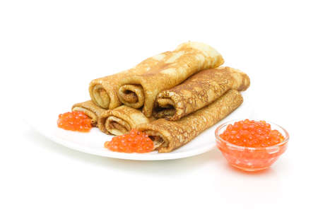 pancakes with red caviar on a white background  horizontal photo  Stock Photo - 18513149
