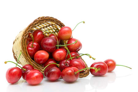 juicy ripe cherries in a wicker basket on a white background close-up. horizontal photo. Stock Photo - 18596490