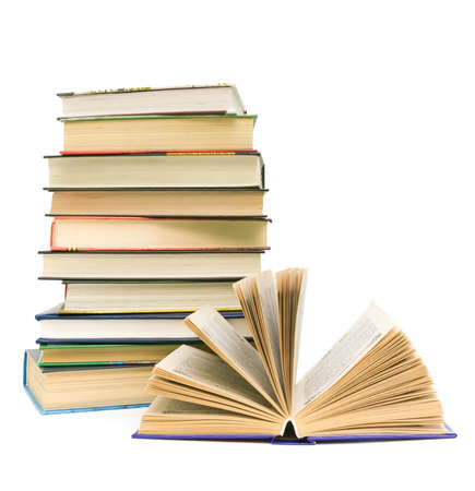 different books closeup isolated on white background. vertical photo. Stock Photo - 18596491