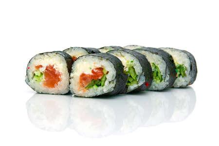 Japanese cuisine. Sushi on a white background with reflection. horizontal photo. Stock Photo - 18656639