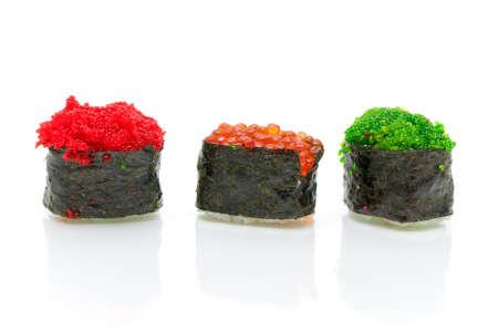 Japanese cuisine. Sushi on a white background - horizontal photo. Stock Photo - 18656623