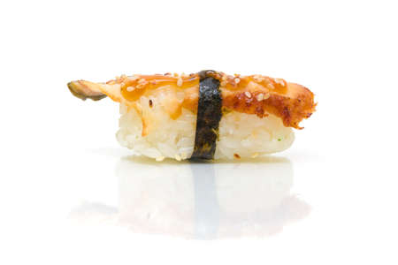 sushi with eel on white background close up with reflection Stock Photo - 18656630