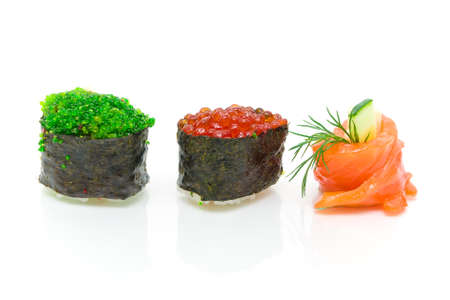 sushi with caviar and cucumber roll with close-up on a white background. horizontal photo. Stock Photo - 18656624