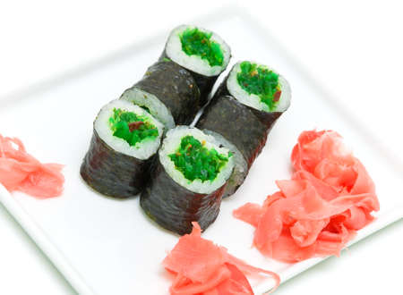 delicious sushi with seaweed and pickled ginger on a white background Stock Photo - 18732408