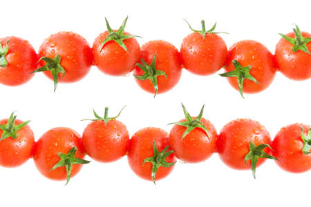 ripe cherry tomatoes on a white background close-up. horizontal photo. photo