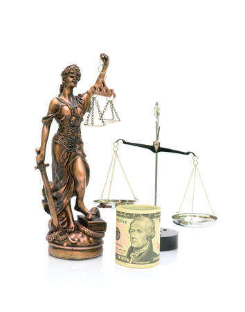 Statue of Justice, U.S. dollars and scales isolated on white background. vertical photo. photo