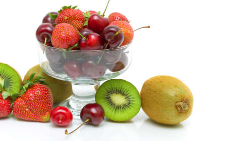 juicy cherries, strawberries and kiwi fruit