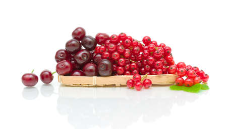 ripe cherries and red currants