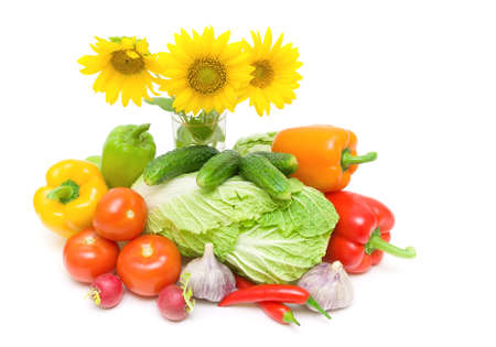 bouquet of three sunflowers and fresh vegetables isolated on a white background. horizontal photo.