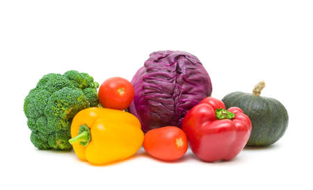 vegetables close-up. tomatoes, peppers, broccoli, pumpkin and red cabbage isolated on white background. horizontal photo. Stock Photo