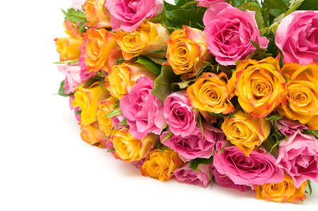 big beautiful bouquet of fresh roses on a white background. horizontal photo. photo