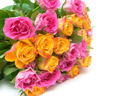 big beautiful bouquet of fresh roses on a white background close-up. horizontal photo. photo