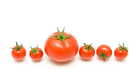 fresh ripe tomatoes isolated on white photo
