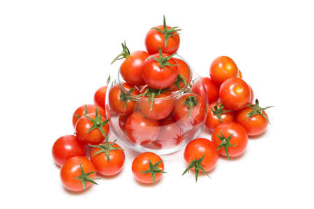 ripe cherry tomatoes isolated on a white background close-up. horizontal photo.