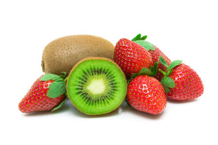 fresh strawberries and juicy kiwi isolated on white background close-up. horizontal photo.