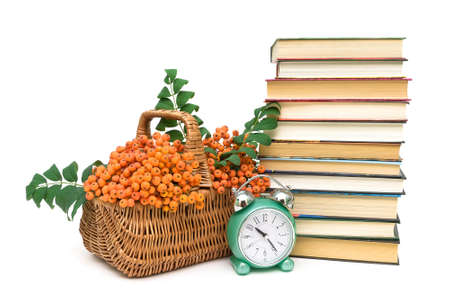 rowan berries in a basket, a stack of books and an alarm clock on a white background. horizontal photo.