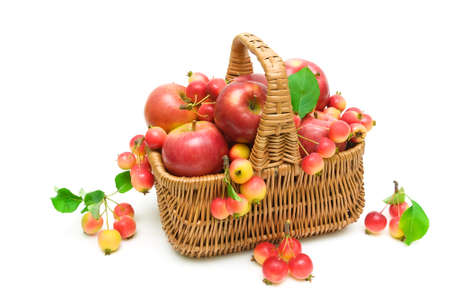 ripe apples in a wicker basket isolated on white background. horizontal photo.