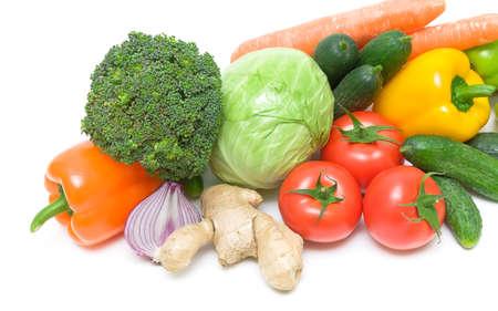 fresh vegetables closeup on white background. horizontal photo. photo
