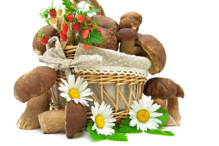 Basket with wild mushrooms and strawberries closeup on white background. horizontal photo. photo