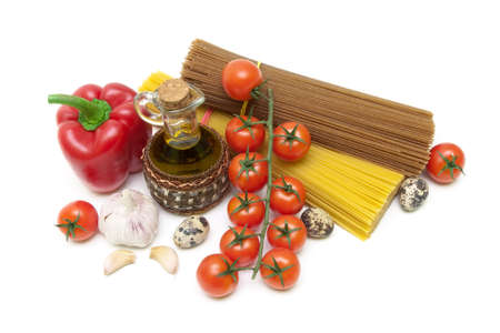 food isolated on white background. top view - horizontal photo. photo
