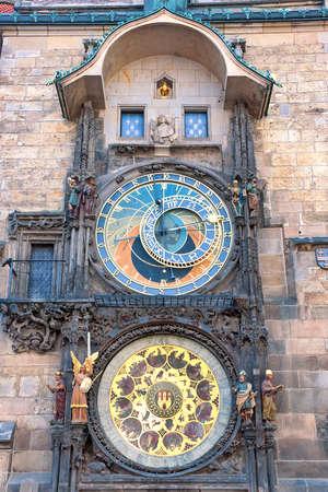 stare mesto: Czech Republic: Astronomical Clock in Prague. Vertical photo. Stock Photo