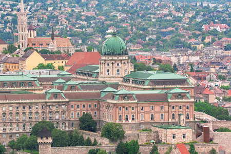 birdseye: Budapest, Hungary: Royal Palace of Buda and Matthias church from birds-eye view. horizontal photo.