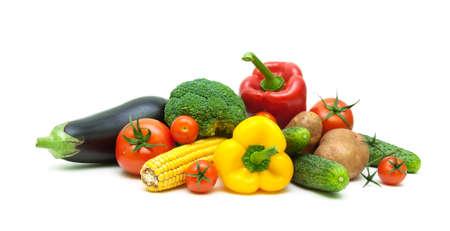fresh vegetables isolated on white background close up. horizontal photo. Stock Photo
