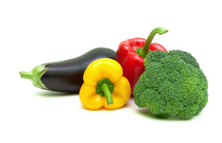 eggplant, bell peppers and broccoli isolated on white background close-up. horizontal photo. photo